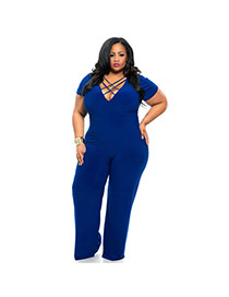 Sexy Blue Pure Color Decorated Deep Bind V-neck Short Sleeve Jumpsuits