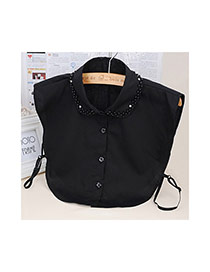 n2003 Black Pure Color Decorated T Shirt Shape Collar