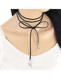 Fashion Silver Color Handgun Shape Pendant Decorated Multi-color Simple Necklace