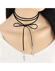 Fashion Silver Color Leaf Shape Pendant Decorated Multi-layer Necklace