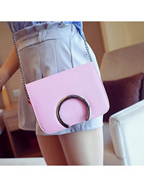 Sweet Pink Metal Arch Decorated Simpe Pure Color Shoulder Bag
