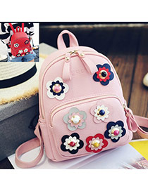 Sweet Pink Rivet Flower Shape Decorated Pure Color Backpack