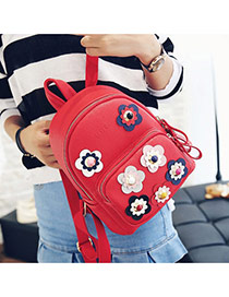 Sweet Red Rivet Flower Shape Decorated Pure Color Backpack