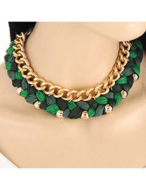 Fashion Green Metal Chain Decorated Weaving Design Collar Necklace