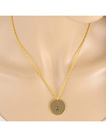 Fashion Gold Color Letter A&round Pendant Decorated Simple Necklace