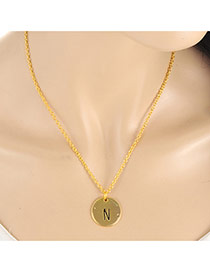 Fashion Gold Color Letter N&round Pendant Decorated Simple Necklace