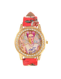 Vintage Red Girl Pattern&diamond Decorated Pure Color Strap Watch