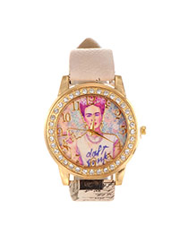 Vintage Beige Girl Pattern&diamond Decorated Pure Color Strap Watch