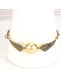 Fashion Gold Color Round Bead&wings Decorated Simple Chain Bracelet