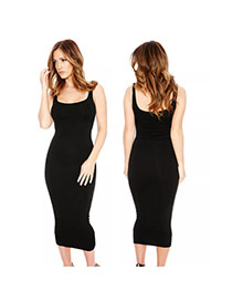 Sexy Black Pure Color Decorated Condole Belt Sleeveless Tight Dress