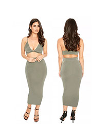Sexy Gray Bra Shape Tops Decorated Pure Color Backless Dress Suits