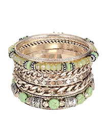 Vintage Green Beads&chain Weaving Decorated Multilayer Bracelet