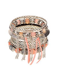 Vintage Pink Chain Tassel Pendant Decorated Multilayer Bracelet