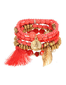 Elegant Red Leaf&tassel Pendant Decorated Multilayer Bracelet