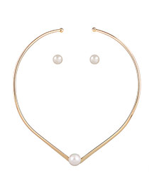 Elegant Gold Color Pearl Decorated Opending Design Jewelry Sets