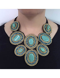 Vintage Blue Geometric Stone Decorated Oval Shape  Collar Necklace