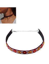 Vintage Red+yellow Geometric Shape Embroidery Pattern Decorated Necklace