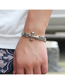 Vintage Silver Color Cross Pattern Decorated Hollow Out Chain Bracelet