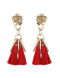 Fashion Red Long Tassel&vertical Bar Pendant Decorated Flower Shape Earrings