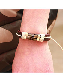 Personalized Coffee Bead Decorated Multi-layer Hand-woven Simple Bracelet