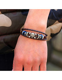 Trendy Coffee Skull Pattern Decorated Multi-layer Dermis Bracelet
