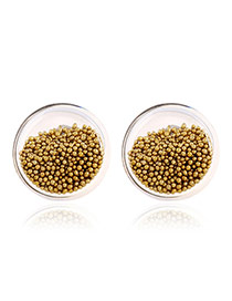 Elegant Yellow Bead Decorated Pure Color Design Simple Earrings