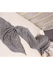 Fashion Gray Pure Color Decorated Mermaid Shape Simple Blanket(large)