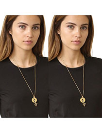 Trendy Gold Color Hollow Out Round Shape Pendant Decorated Long Necklace