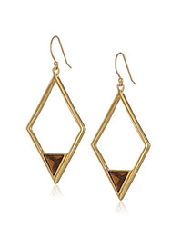 Fashion Brown Hollow Out Rhombus Shape Pendant Decorated Simple Earrings