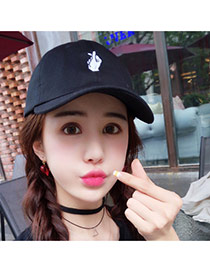 Fashion Black Finger Pattern Decorated Pure Color Simple Baseball Hat