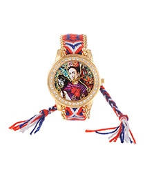 Lovely Red+sapphire Blue Girl&monkey Pattern Decorated Weaving Strap Simple Watch