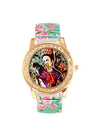 Lovely Green Girl&monkey Pattern Decorated Painting Flower Strap Simple Watch