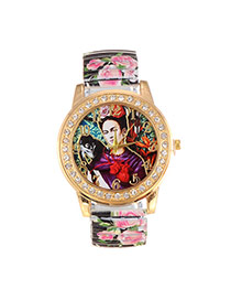 Lovely Black Girl&monkey Pattern Decorated Painting Flower Strap Simple Watch