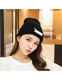Fashion Black Letter Bowllcb Decorated Pure Color Design Kintting Hat
