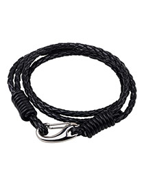 Fashion Black Snack Pattern Decorated Multi-layer Stainless Steel Buckle Bracelet