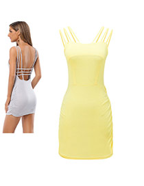 Sexy Yellow Hollow Out Strap Design Pure Color Backless Package Hip Mini Dress
