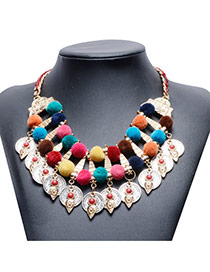 Vintage Multi-color Coin Pendant Decorated Double Layer Fuzz Ball Collar Necklace