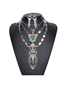 Vintage Multi-color Irregular Shape Pendant Decorated Multi-layer Jewelry Sets