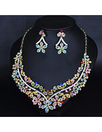 Elegant Multi-color Flower Decorated Hollow Out Jewelry Sets
