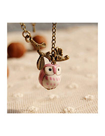 Lovely Pink Owl Pendant&branches Decorated Simple Long Necklace