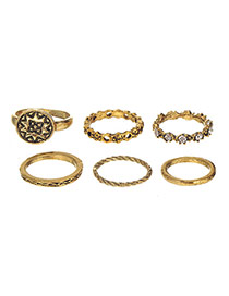 Vintage Gold Color Diamond Decorated Hollow Out Ring Sets (6pcs)