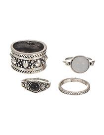 Vintage Silver Color Round Shape Gemstone Decorated Wide Ring Sets (4pcs)