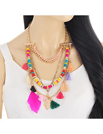 Bohemia Multi-color Tassel &feather Pendant Decorated Multilayer Short Chain Necklace