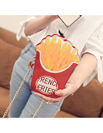 Fashion Red French Fries Shape Design Long Chain Bag