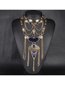 Exaggerate Gold Color Geometric Shape Gemstone Decorated Hollow Out Tassel Necklace