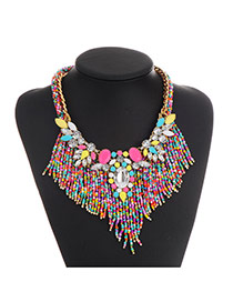 Fashion Multi-color Beads&diamond Decorated Tassel Design Simple Necklace