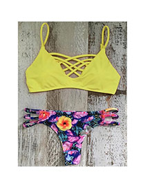 Lovely Yellow Flower Patrtern Decorated Cross Behind Back Two-pieces Bikini