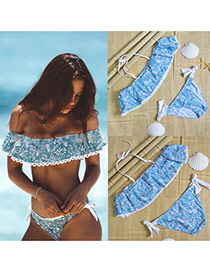 Lovely Multi-color Printing Pattern Decorated Strap Of The Shoulder Bikini