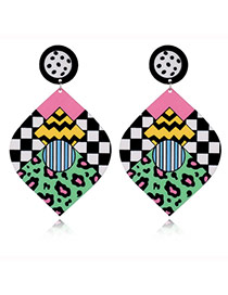 Exaggerate Multi-color Color Maching Decorated Diamond Shape Earrings