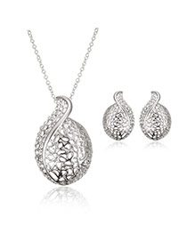 Elegant Silver Color Diamond Decorated Hollow Out Long Chain Jewelry Sets